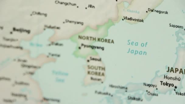 North South Korea Political Map World Video Defocuses Showing Hiding
