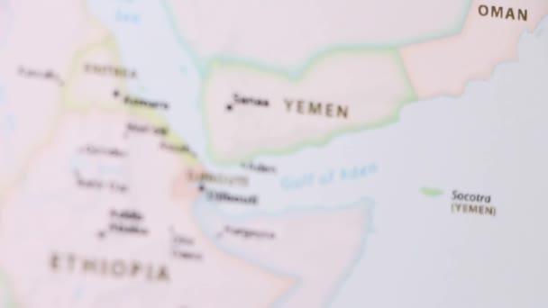Political Map Of Yemen.Yemen Political Map World Video Defocuses Showing Hiding Map Stock