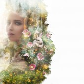 Visual digital art. Double exposure effects. Female head and rabbit in magical forest