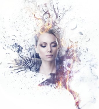 Visual digital art. Girl in smoke and fire with black wings and crown of burning tree branches.