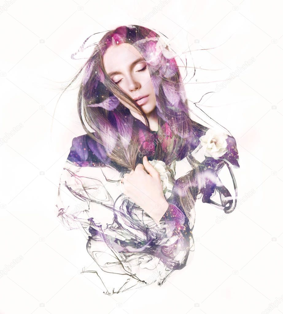 Visual digital art. Double exposure effects of androgynous with closed eyes and flowers