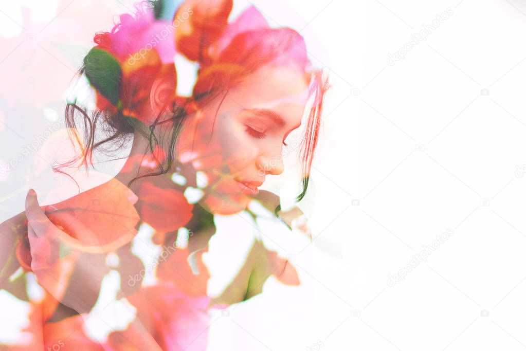 Double exposure portrait of young pretty woman with bright spring garden flowers and leaves.