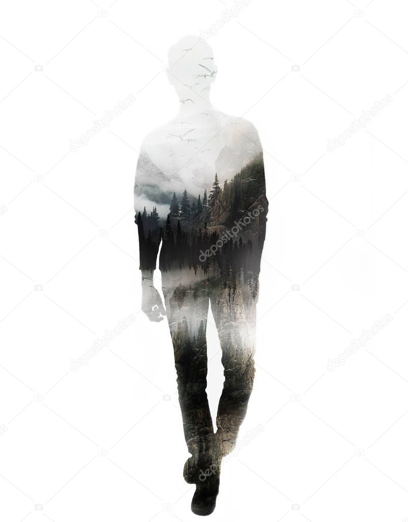 Double exposure full body man with nature mountains, foggy forest and flying birds. Silhouette isolated on white.