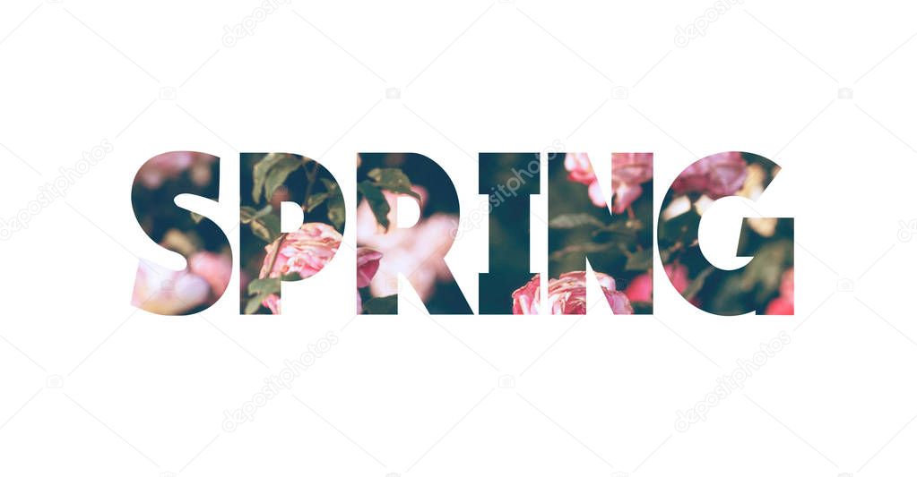 Word spring with natural background pictures. Double exposure, isolated on white