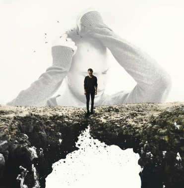 Man standing close to the edge on cliff. Ground is destroying under his feet. Depression and desperation. Negative people emotions concept. Mental health. With copy space for text