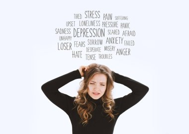 Portrait of young stressed woman pulling her hair with a cloud of negative thoughts above her head. Negative human emotions, facial expressions, reactions, attitude, feelings. Words concept. Mental health. Isolated on white background