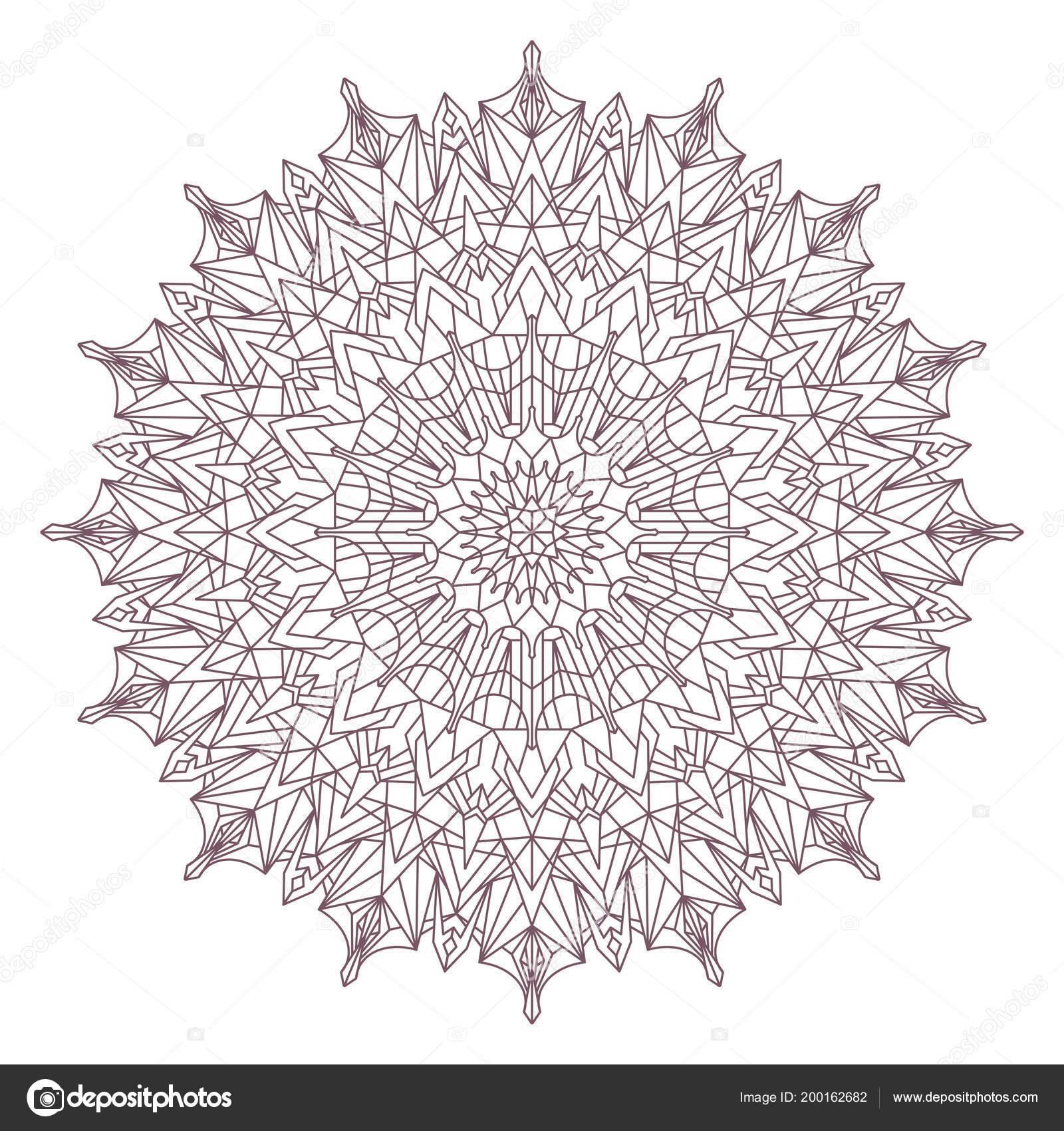 Línea Arte Circular Intrincado Mandala Diseñado Para Colorear ...