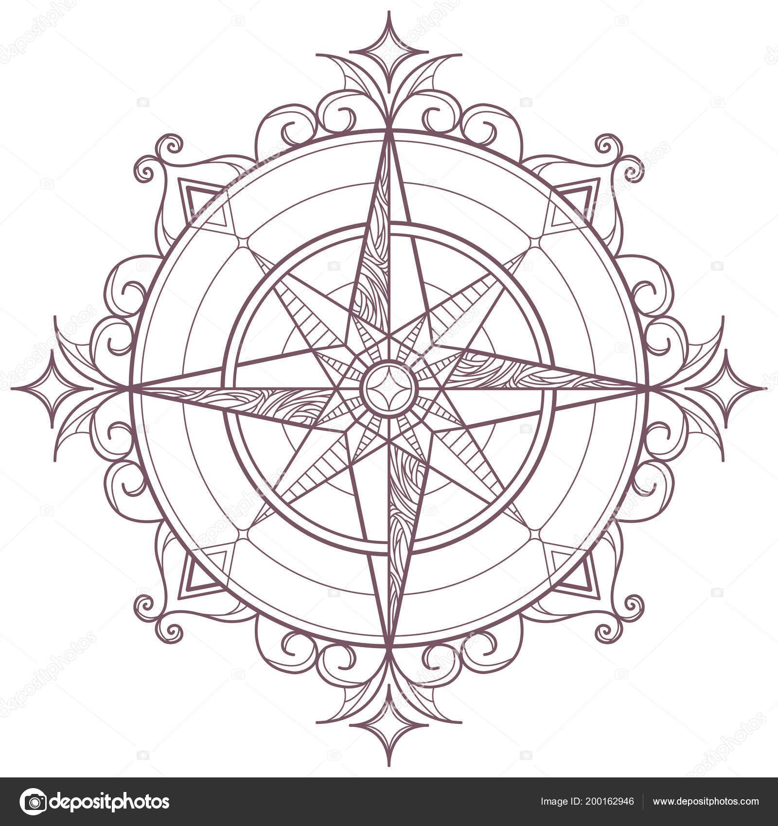 Línea Arte Circular Intrincado Mandala Forma Brújula Diseñada Para ...
