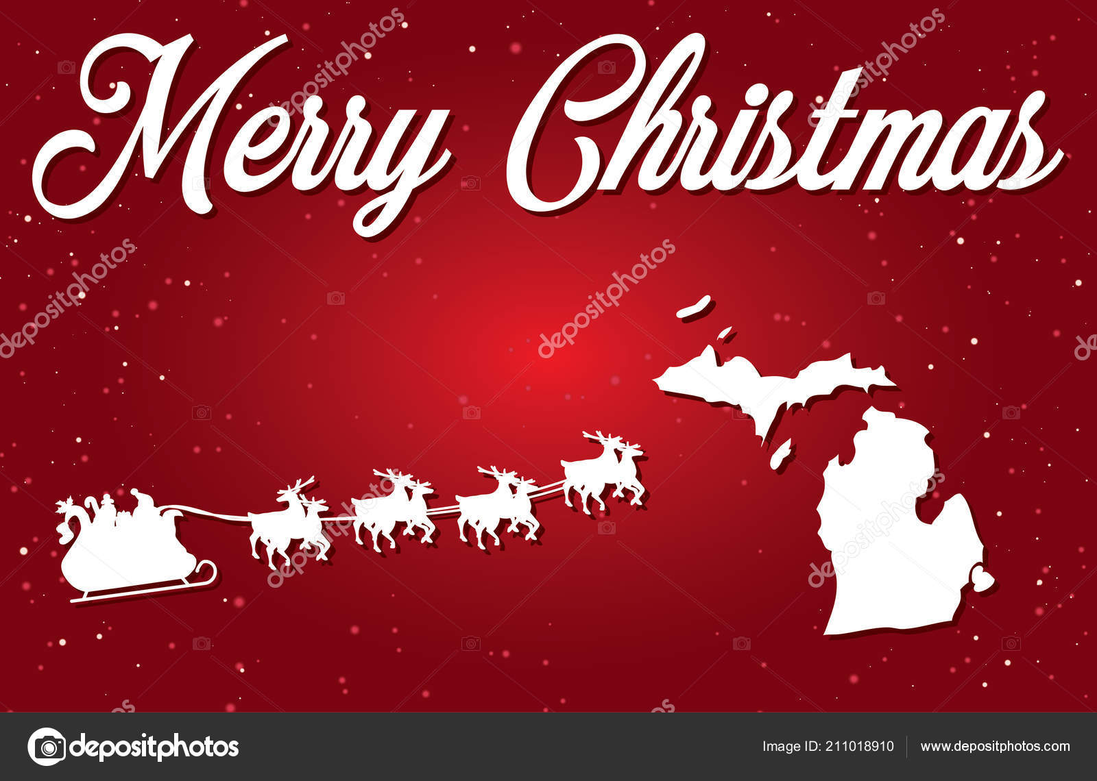 Merry Christmas Illustration Santa Landing State Michigan ...