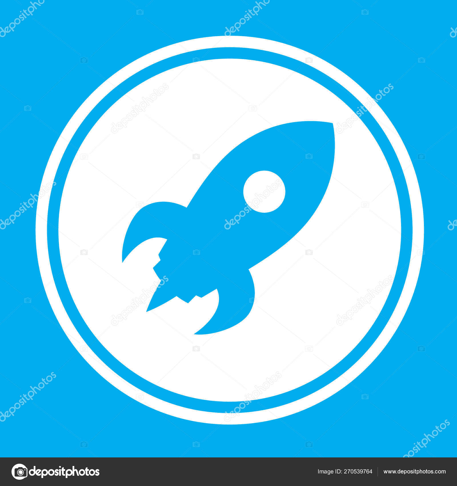 Illustrated Icon Isolated on a Background - Space Rocket