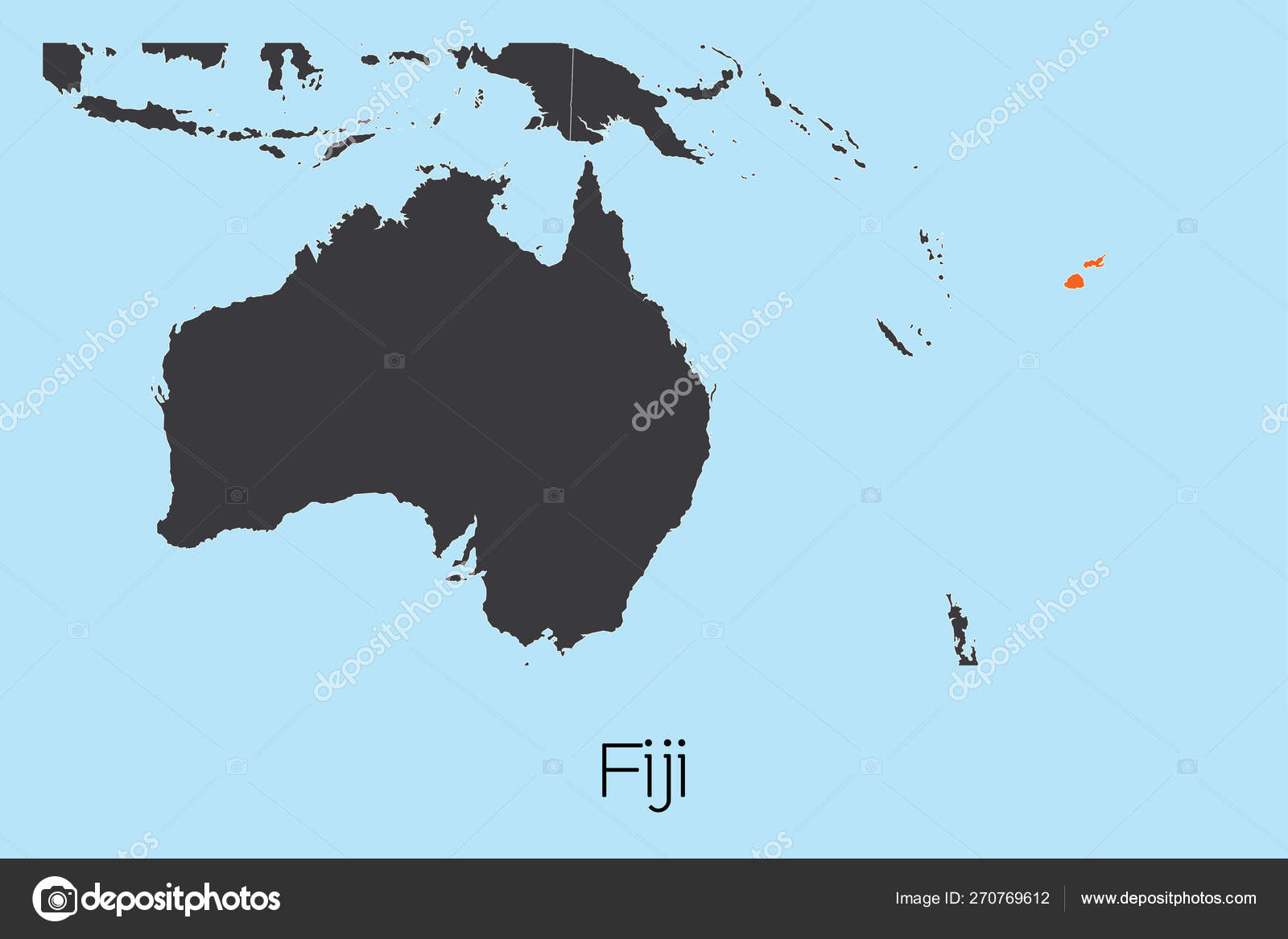 Illustrated Country Shape of Fiji — Stock Vector ...