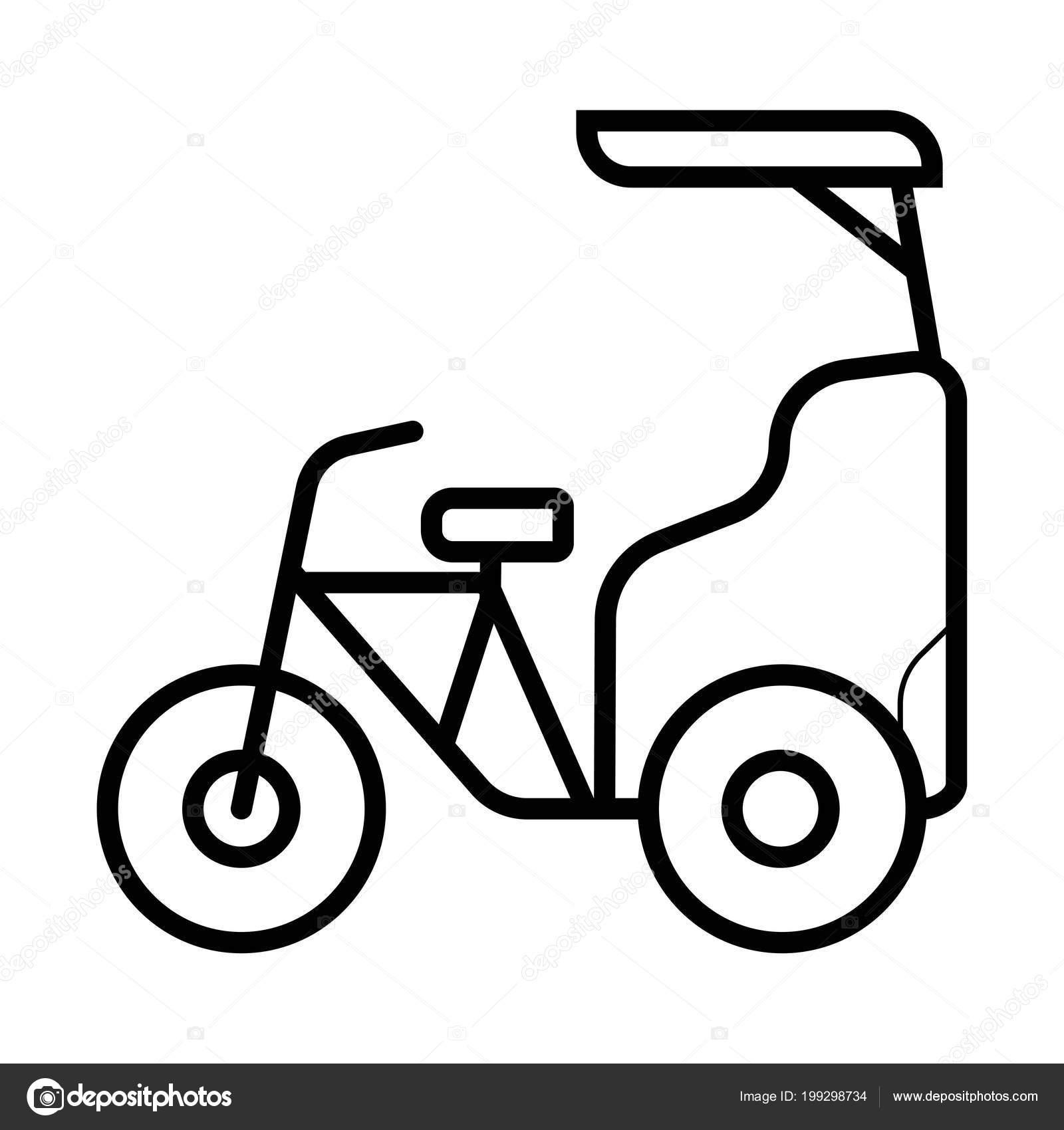 サイクル人力車グリフ アイコン ベロタクシー 輪タク シルエットの