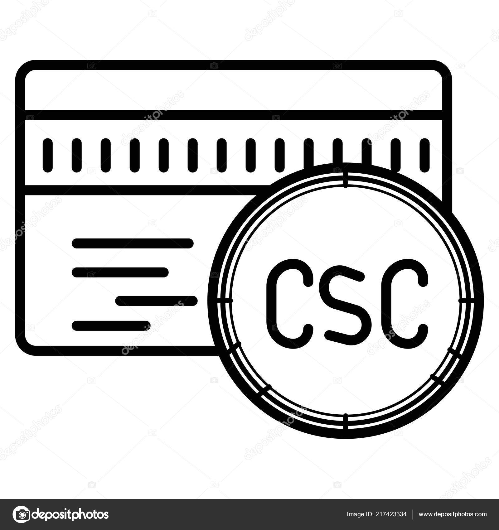 Csc Card Security Code Credit Card Icon — Stock Vector