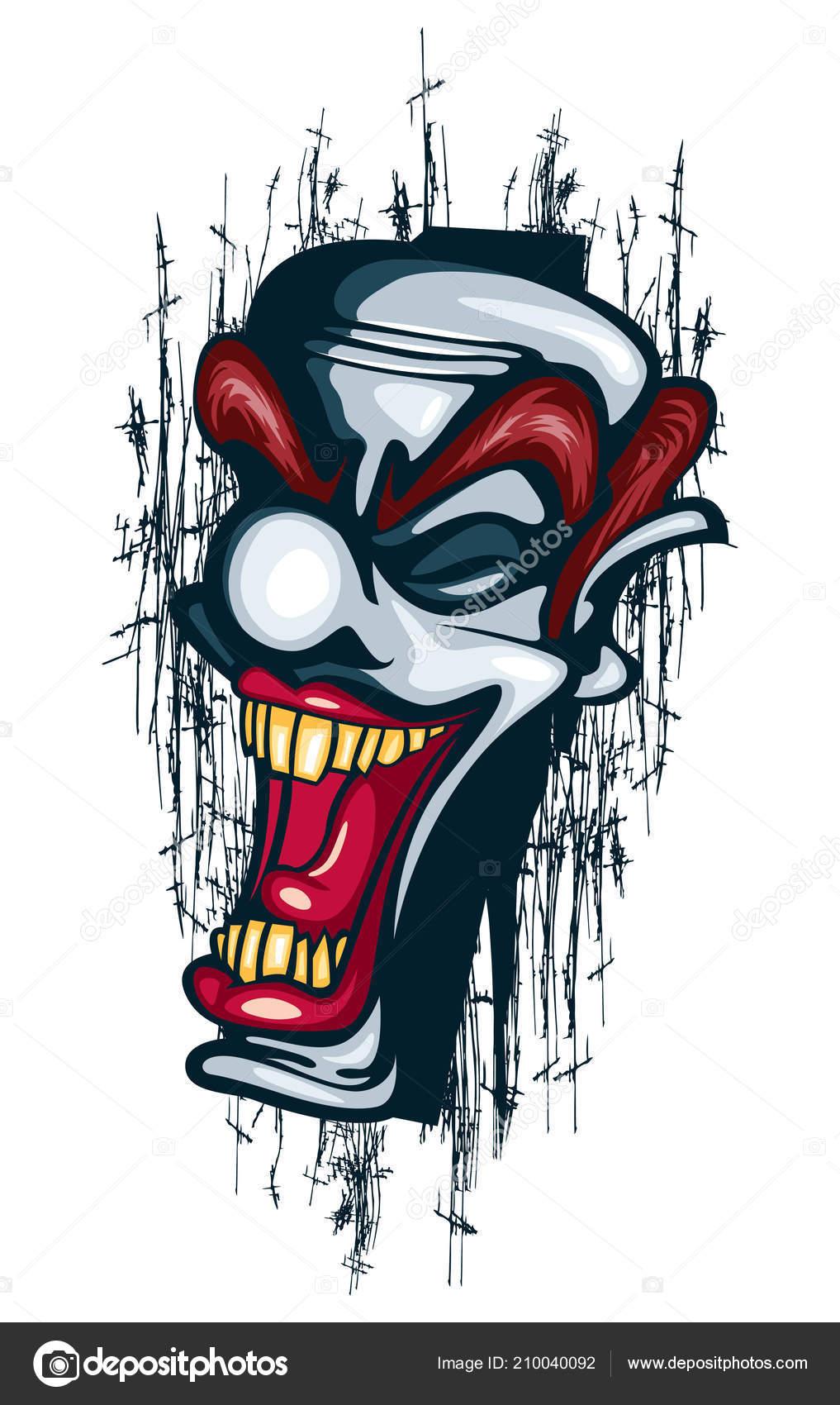 Sourire Clown Tatouage Vecteur Circus Joker Reussie Image