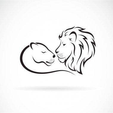 Male lion and female lion design on white background. Wild Anima