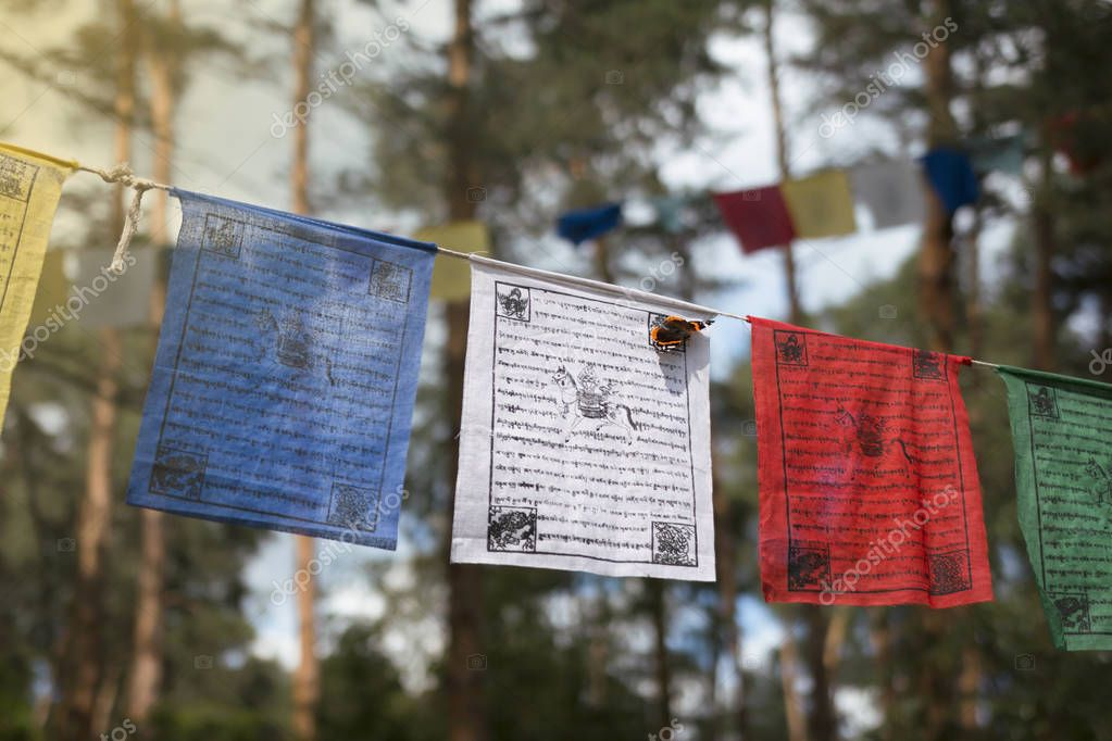 Kunsangar north, Pavlovsky Posad, Moscow region / Russia - July 2017: Colorful prayer flags (lungta/darcho) of Buddhist philosophy with mantra and butterfly in the wind. Soft focus with bokeh