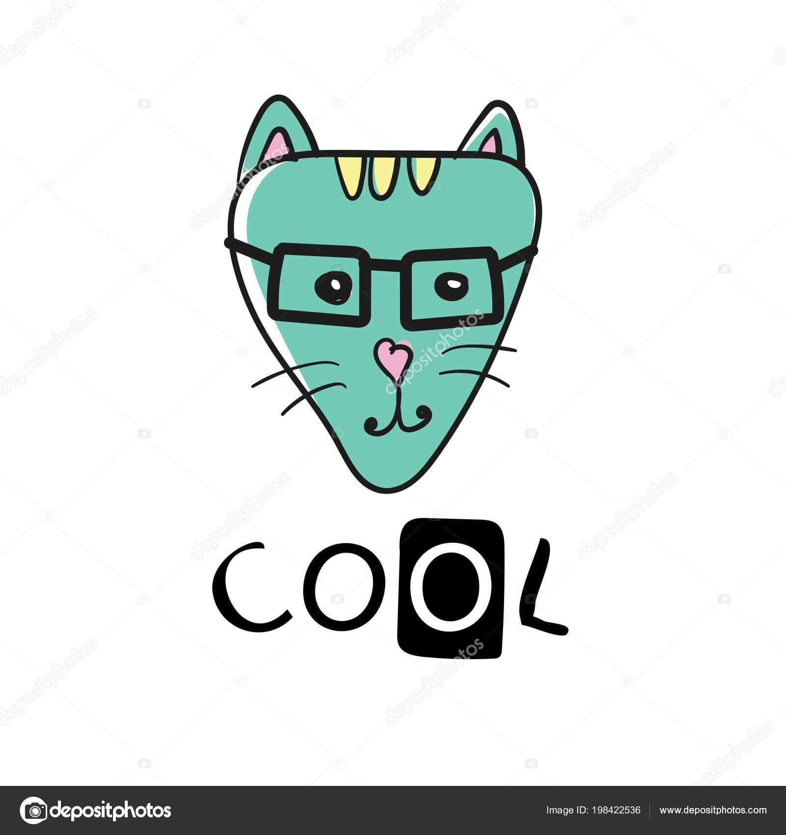 Coole Katze Slogan Und Gesicht Katze Vektor Süße Katze Gesicht