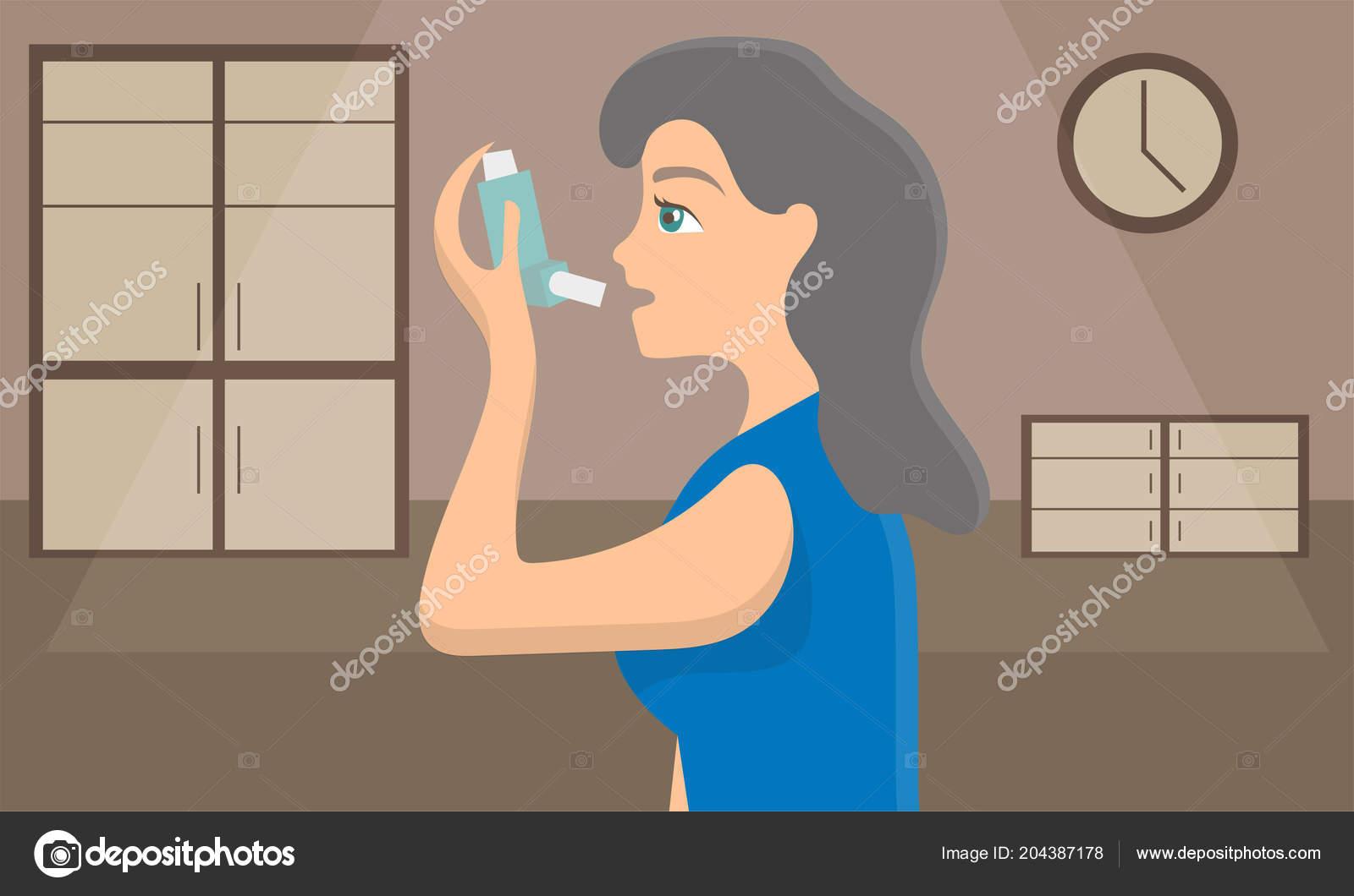 Mujer utilizando un inhalador de aerosol para detener el ataque de ...
