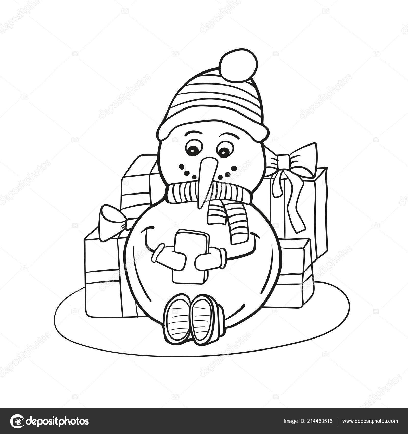 Delineato Da Colorare Pupazzo Di Neve Con Il Telefono Cellulare