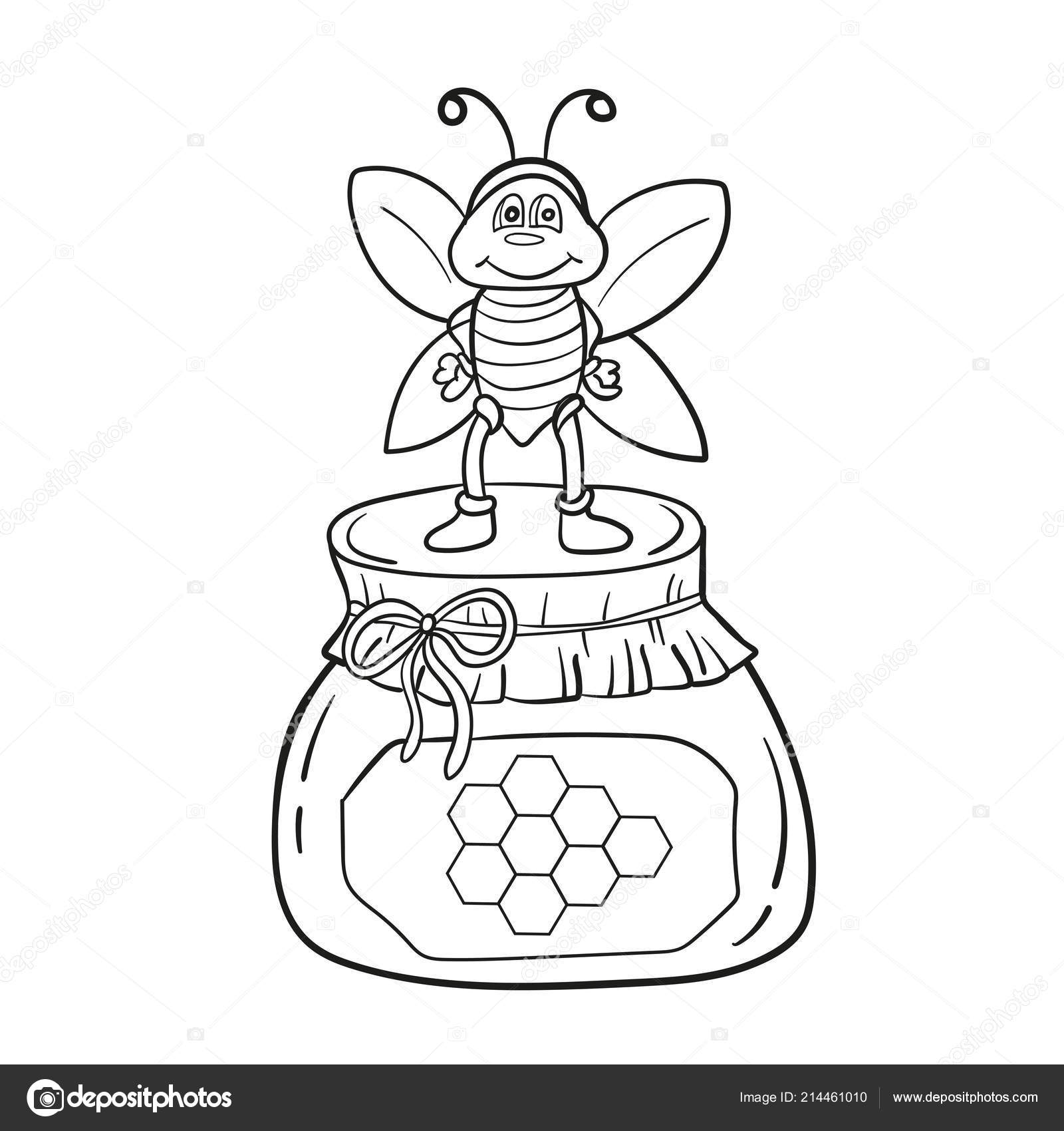 Cartoon Bee With Honey Black And White Vector Illustration For
