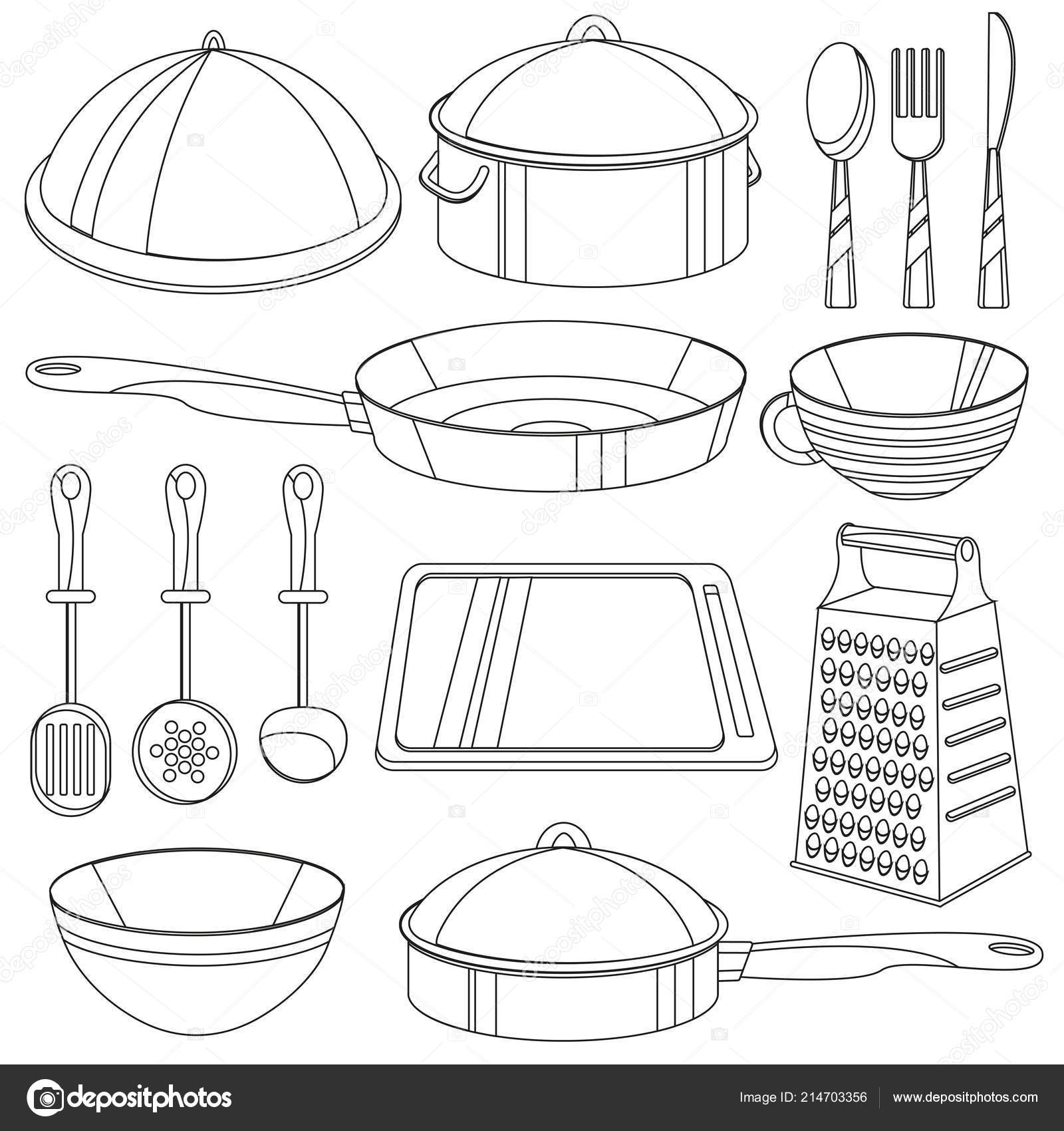 Kitchenware Coloring Book Vector Illustration For Children