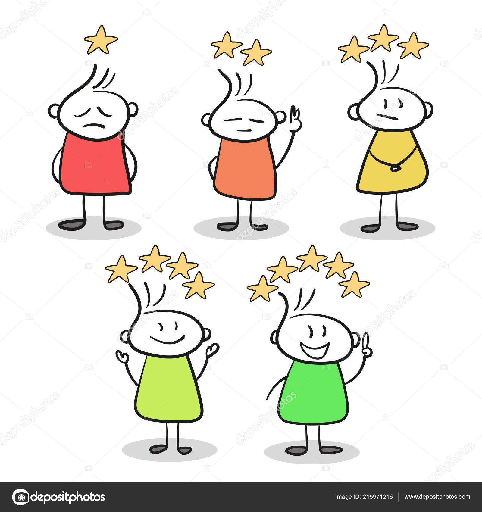 Bosquejo De Personitas Con Estrellas De Calificación Vector De
