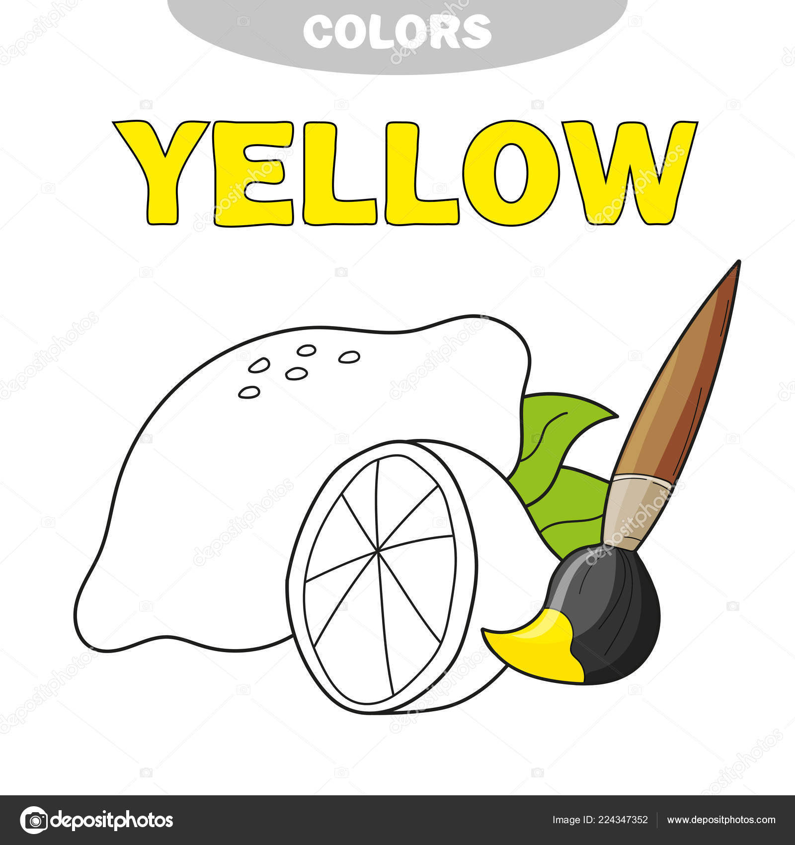 Coloring Book Page Preschool Children Outlines Lemon Yellow Learn