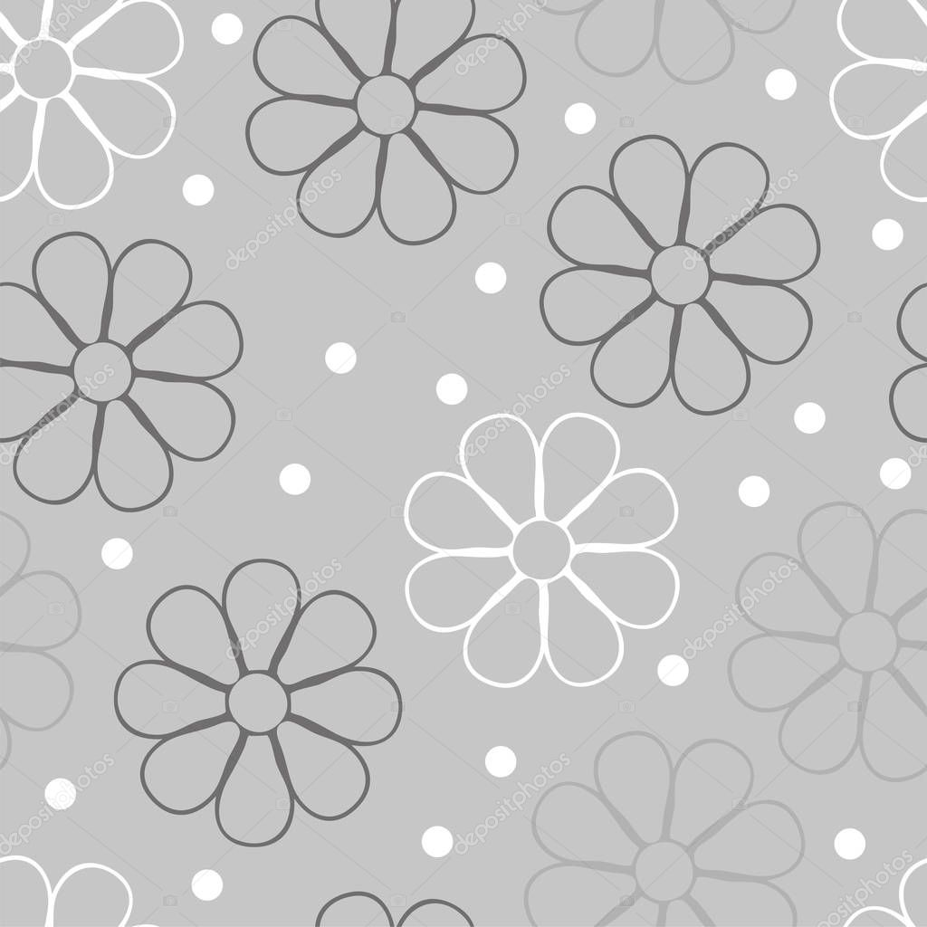 Vector flowery pattern. Seamless floral background for wrapping, textile