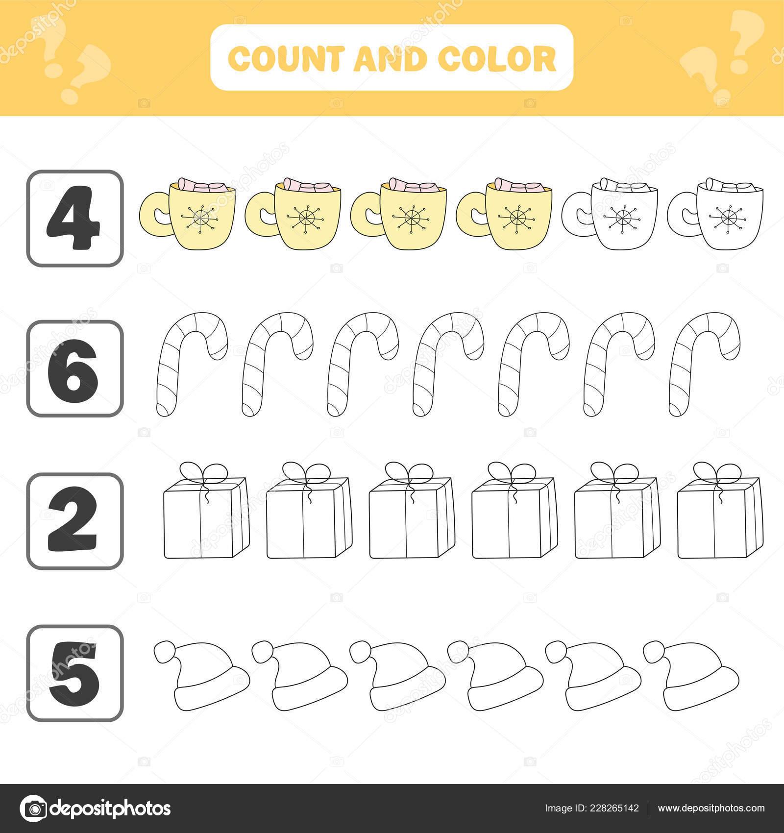 Mathematik Arbeitsblatt Für Kinder Zählen Und Farbe Pädagogische