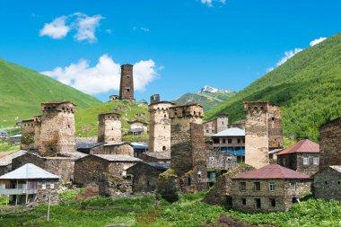 Ushguli, Georgia - Svan Towers at Ushguli village in Samegrelo-Zemo Svaneti, Georgia. It is part of the UNESCO World Heritage Site - Upper Svaneti.