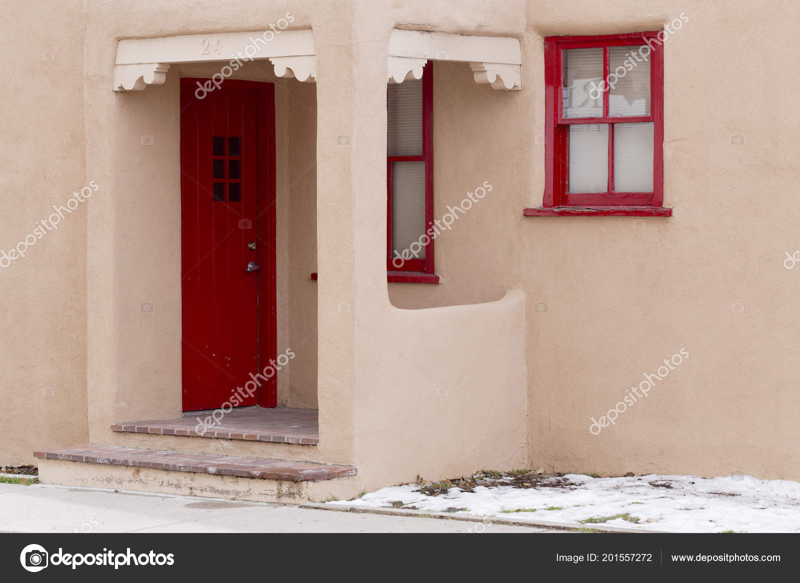 Red Door Red Window Frames Downtown Santa New Mexico Stock
