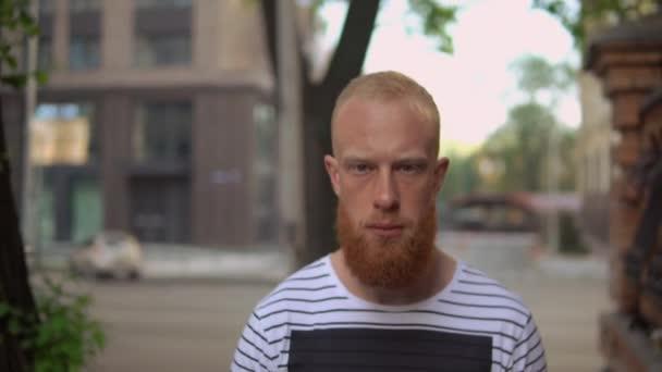 attractive male in city summer season