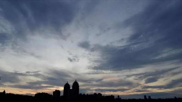 Timelapse. Evening sky on the Obolon embankment, Kiev, Ukraine. Beautiful sky on the waterfront.