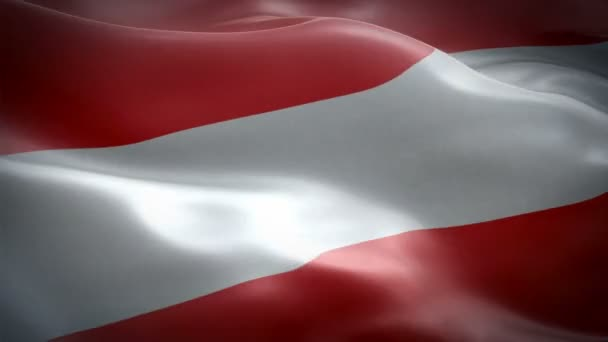 Austrian flag waving in wind video footage Full HD. Realistic Austrian Flag background. Austria Flag Looping Closeup 1080p Full HD 1920X1080 footage. Austria EU European country flags Full HD