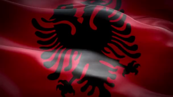 Albanian flag Closeup 1080p Full HD 1920X1080 footage video waving in wind. National 3d Albanian flag waving. Sign of Albania seamless loop animation. Albanian flag HD resolution Background 1080p