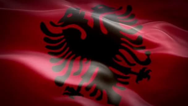 Albania flag video waving in wind. Realistic Albanian Flag background. Albania Flag Looping Closeup 1080p Full HD 1920X1080 footage. Albania EU European country flags footage video for film,news