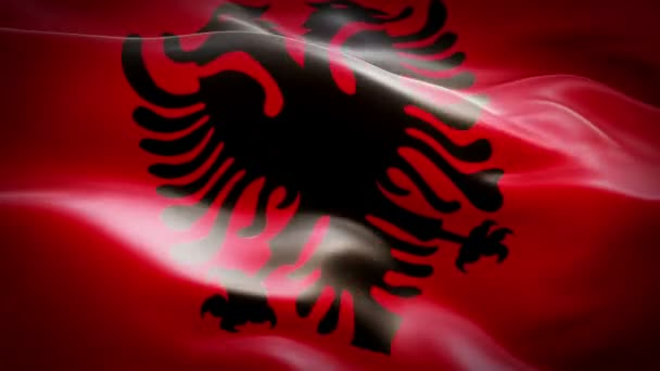 Albania waving flag. National 3d Albanian flag waving. Sign of Albania seamless loop animation. Albanian flag HD resolution Background. Albania flag Closeup 1080p Full HD video for presentation