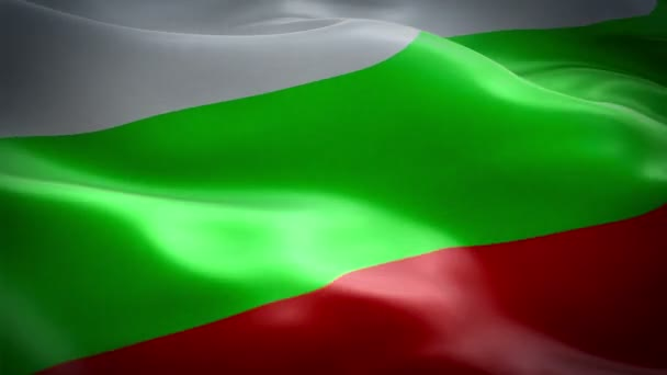 Bulgarian flag Closeup 1080p Full HD 1920X1080 footage video waving in wind. National 3d Bulgarian flag waving. Sign of Bulgaria seamless loop animation. Bulgarian flag HD resolution Background. Bulgaria flag Closeup 1080p Full HD video