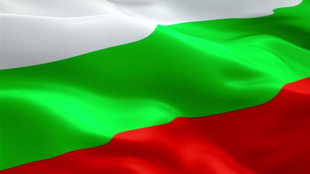 Bulgaria flag video waving in wind. Realistic Bulgarian Flag background. Bulgaria Flag Looping Closeup 1080p Full HD 1920X1080 footage. Bulgaria EU European country flags/ Other flags available - check my profile