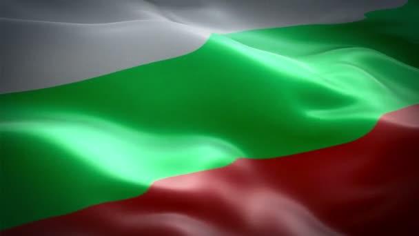 Bulgaria flag video waving in wind. Realistic Bulgarian Flag background. Bulgaria Flag Looping Closeup 1080p Full HD 1920X1080 footage. Bulgaria EU European country flags footage video for presentation, film, news