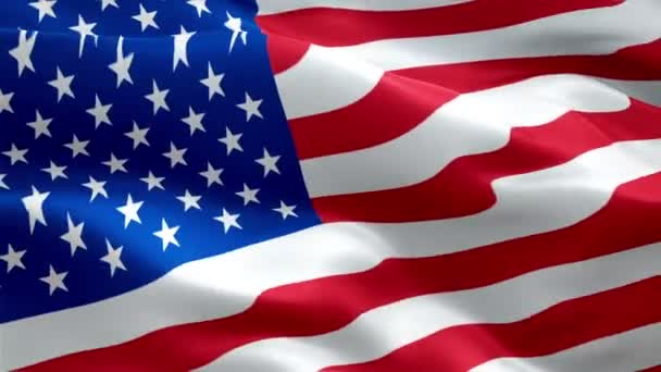 US flag video waving in wind. Realistic United States Flag background. USA 4th of july US American Flag Waving 1080p Full HD footage. USA America American country flags footage video for film,news
