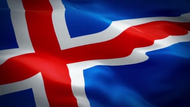Islandská vlajka mávání ve větru videozáznam Full Hd. realistické islandské vlajky pozadí. Islandská vlajka opakování detailní záběry 1080p Full Hd 1920 × 1080. Evropské země Eu Island příznaky Full Hd