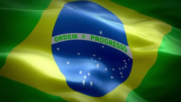 Brazil flag video waving in wind. Realistic Brazilian Flag background. Brazil Flag Looping Closeup 1080p Full HD 1920X1080 footage. Brazil EU European country flags/ Other HD flags available