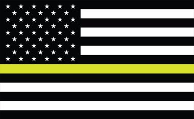 Thin Gold Line American Flag. Flag Representing 911 and other first responder communications dispatchers. Thin Gold Line Three Stripe. USA American 911 Flag. emergency medical responder