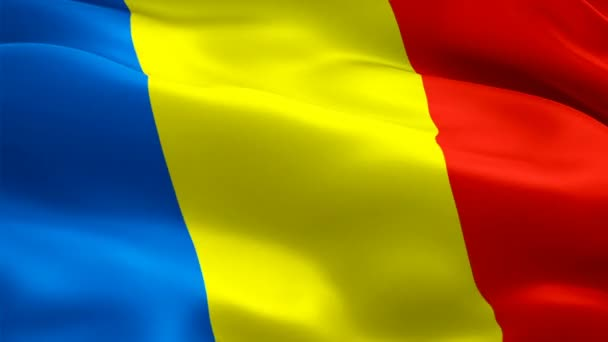 Romanian flag waving in wind video footage Full HD. Realistic Romanian Flag background. Romania Flag Looping Closeup 1080p Full HD 1920X1080 footage. Romania EU European country flags Full HD