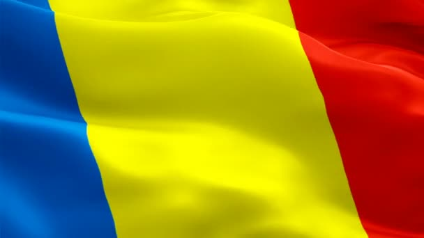 Romania flag video waving in wind. Realistic Romanian Flag background. Romania Flag Looping Closeup 1080p Full HD 1920X1080 footage. Romania EU European country flags/ Other HD flags available