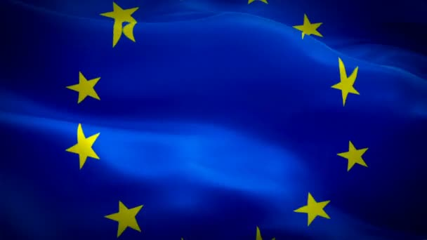 EU Loops Euro Flag Closeup 1080p Full HD 1920X1080 footage video waving in wind. National 3d Euro flag waving. Sign of European Union seamless loop animation. Euro flag HD resolution Background 1080p