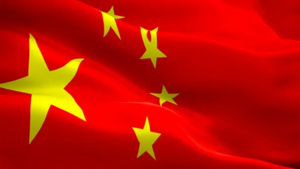 Chinese flag waving in wind video footage Full HD. Realistic Chinese Flag background. China Flag Looping Closeup 1080p Full HD 1920X1080 footage. China EU Asian country flags Full HD