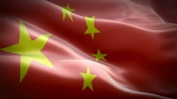 Realistic looping China waving flag. National 3d Chinese flag waving. Sign of China seamless loop animation. Chinese flag HD resolution Background. China flag 1080p Full HD video for presentation