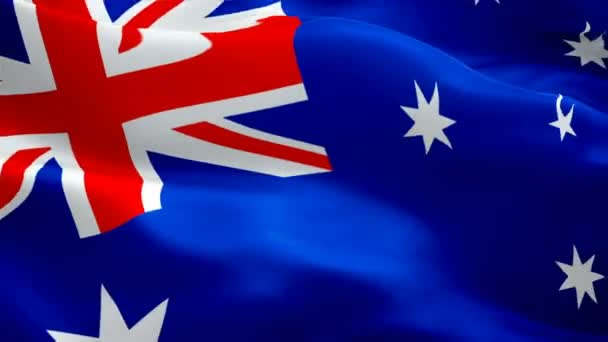 Silk Flag Animation of Australia flag video waving in wind. Realistic Australian Flag background. Australia Flag Looping Closeup 1080p Full HD 1920X1080 footage. Australia Sydney Aussie country flags